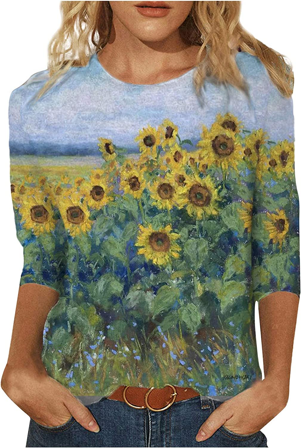 Womens Retro Fashion Tops Sunflower Landscape Printed Mid-Length Sleeves Crew-Neck Casual Loose Fit Tee Tops