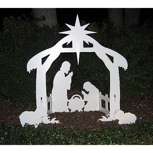 Teak Isle Christmas Outdoor Nativity Set, Yard Nativity Scene - Wooden Christmas Yard Decorations: Amazon.com