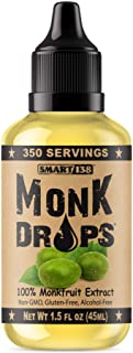 Monk Drops - 100% Monkfruit Liquid Sweetener, Zero Glycemic, Zero Calories, Zero Sugar, No Added Water, Concentrated Monk ...