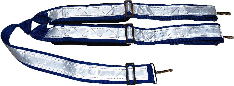 Full Reflective Blue Snap-On Suspenders (Regular, Blue)