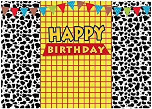 Funnytree 7x5FT Cow Pattern Yellow Lattice Photography Backdrop for Cartoon Happy Birthday Party Banner Western Cow Boy Colorful Blue Sky Flags Background Photo Booth