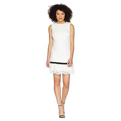 Calvin Klein Lace Hem Sheath Dress CD8C14LU (White/Black) Women