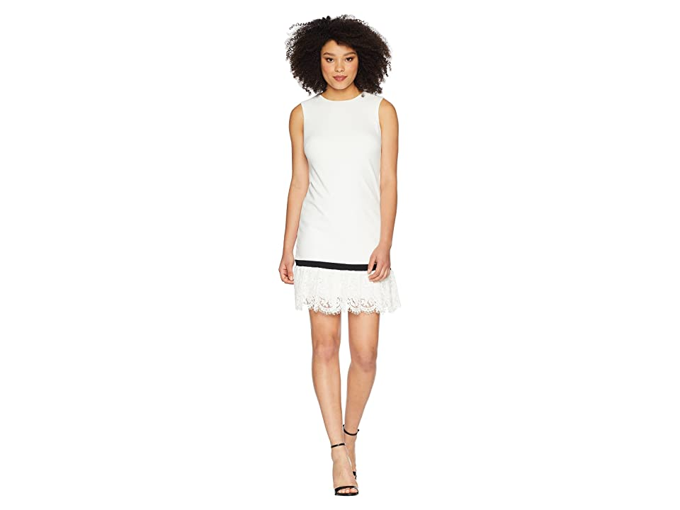 Calvin Klein Lace Hem Sheath Dress CD8C14LU (White/Black) Women
