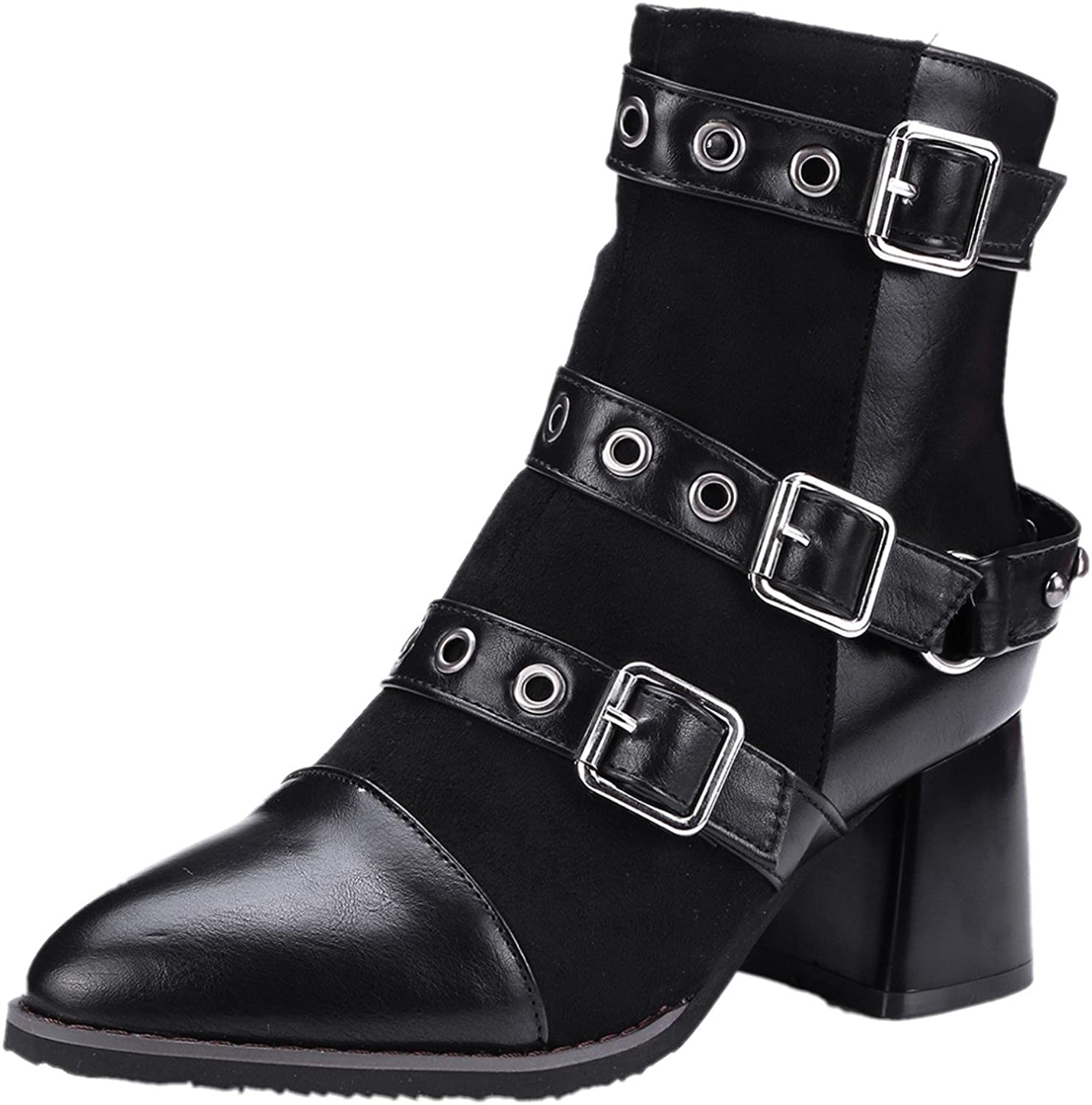 Rongzhi Womens Pointed Toe Ankle Boots Chunky Block Heels Suede Leather Strap Buckle Zip Combat Booties