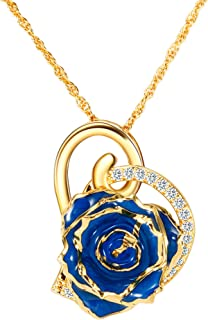 Real Rose Pendant Necklace 24K Gold Dipped, Best Gifts for her Wife Girlfriend Mother Women for Anniversary Valentine's Day Birthday
