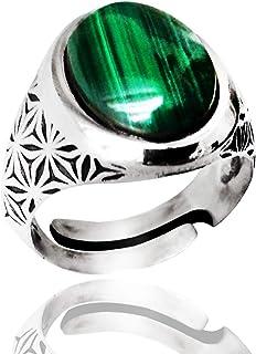 ViMon Gioielli, ANELLO in ARGENTO brunito 925 con PIETRA ovale MALACHITE verde liscia, anello GRANDE massiccio,regolabile ...