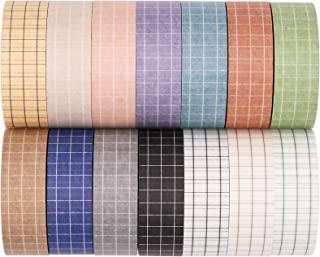 Knaid Grid Washi Tape Set, 14 Rolls of 15 mm Wide Decorative Colored Masking Tapes for Scrapbooking, DIY Decor and Crafts,...
