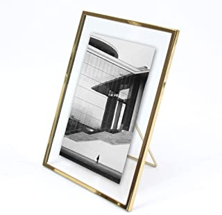 MIMOSA MOMENTS Gold Metal Floating Picture Frame with Metal Easel, Photo Display for Desk (Gold, 4x6)