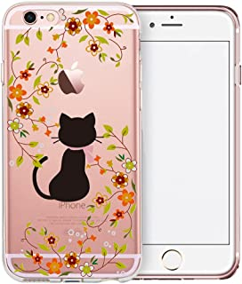 iPhone 6S Case, SwiftBox Cute Cartoon Clear Case for iPhone 6 6S (Cat and Yellow Flowers)