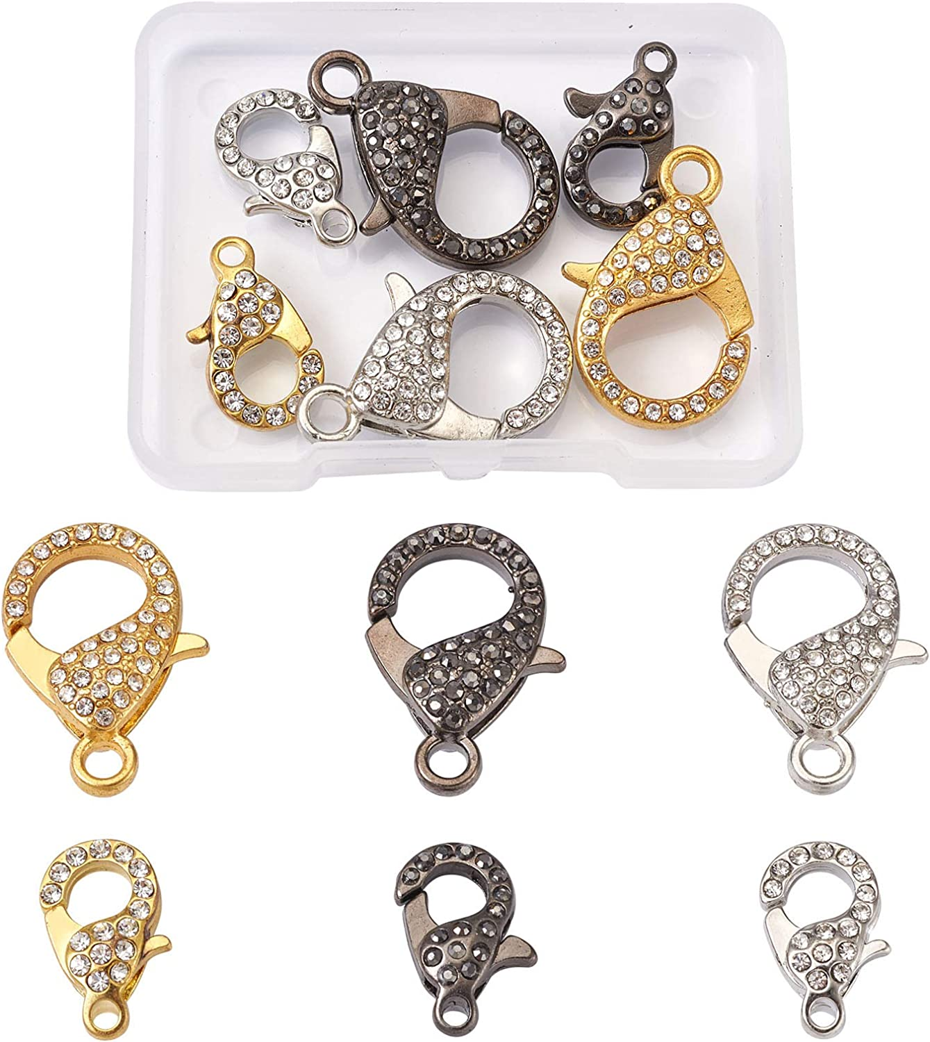Pandahall 6pcs Branded goods Rhinestone Lobster Claw Metal 2 Clasps Sizes Sale Special Price Lany