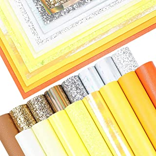 16 Pieces 8x6 Inch New Contrast Colors White Yellow Gold Series Faux Leather Fabric Sheets Include Litchi Fine Chunky Glit...