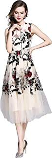 Womens Sleeveless Sheer Mesh Allover Floral Embroidered Evening Cocktail Dress