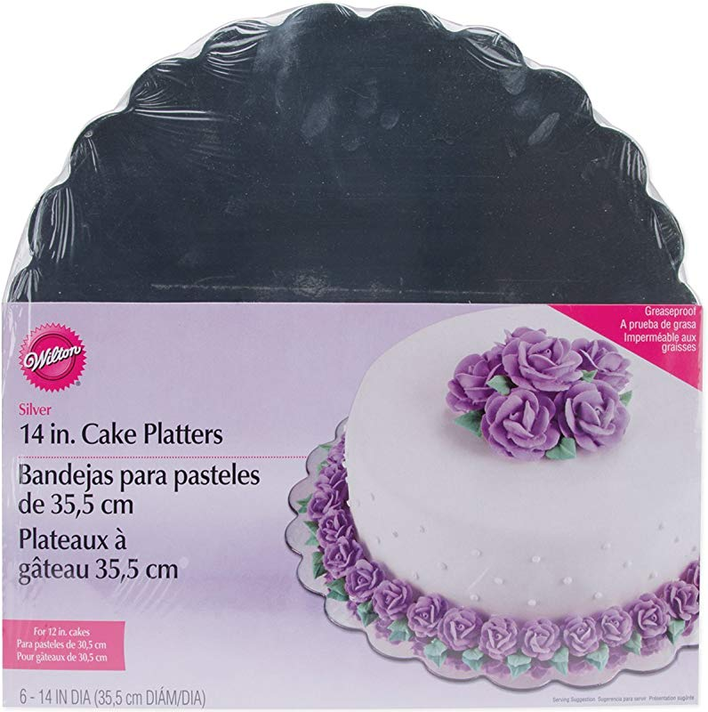 Wilton 14 Inch Silver Cake Platters 6 Count