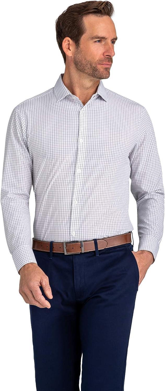Mizzen + Main Men's Leeward Button Down Dress Shirt, Classic Fit, Red Light Blue Multi Check