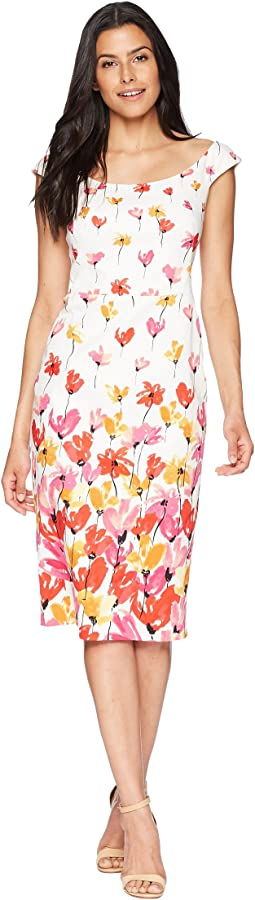 Tulip Border Printed Cotton Sheath Dress