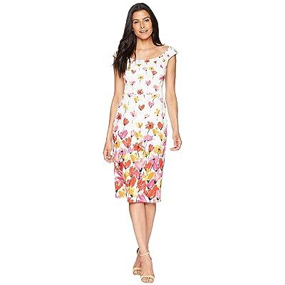 Maggy London Tulip Border Printed Cotton Sheath Dress (Soft White/Raspberry) Women