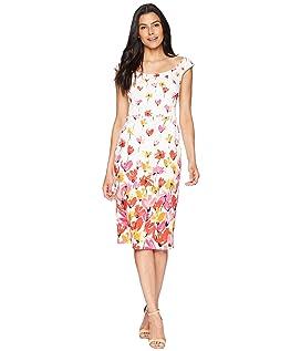 Tulip Border Printed Cotton Sheath Dress