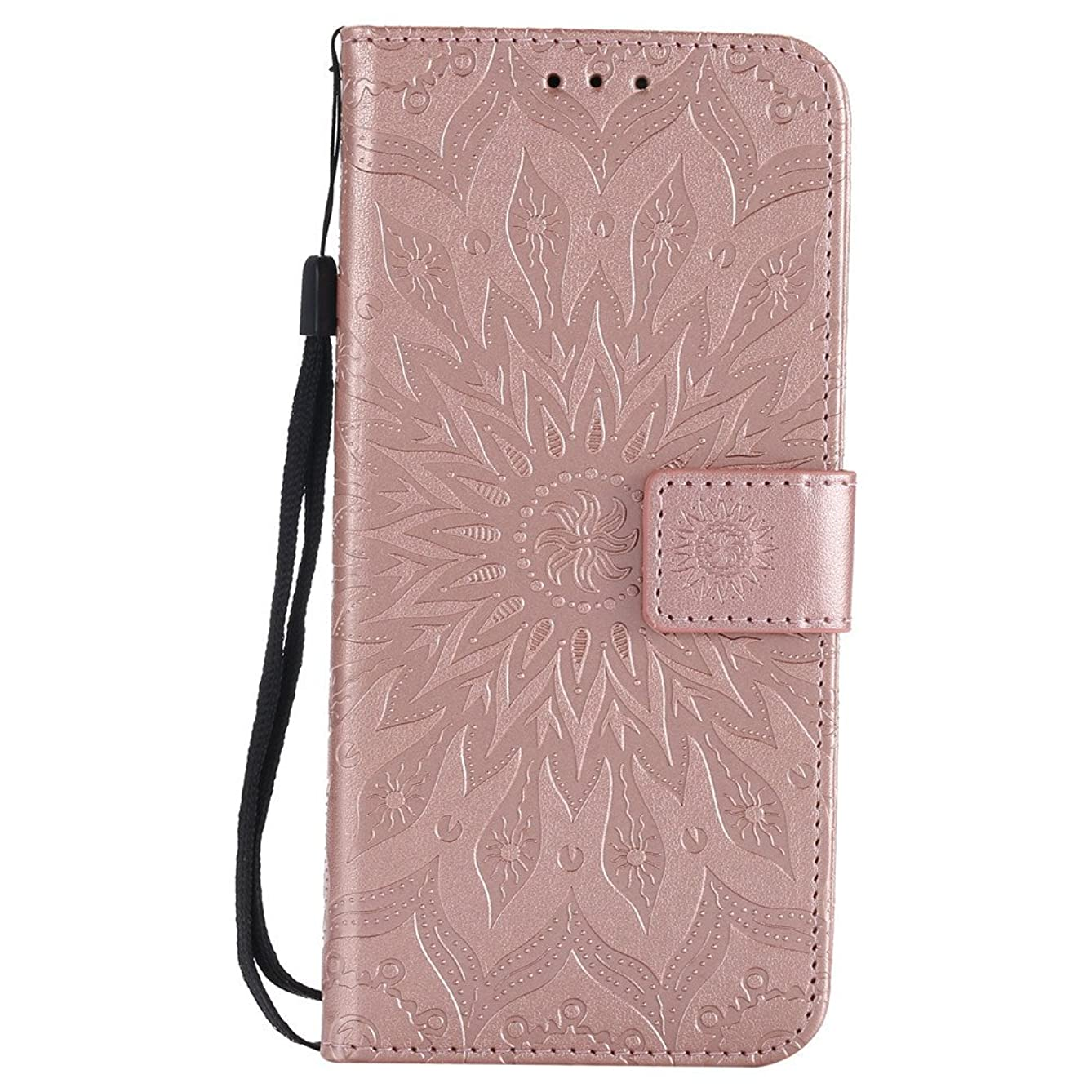 ISADENSER Samsung Galaxy S8 Case [Wallet Stand] as Gift with Shockproof Credit Card Holder Flip Magnetic Closure Protection PU Leather Wallet Case Cover for Samsung Galaxy S8 Rose Gold Sunflower