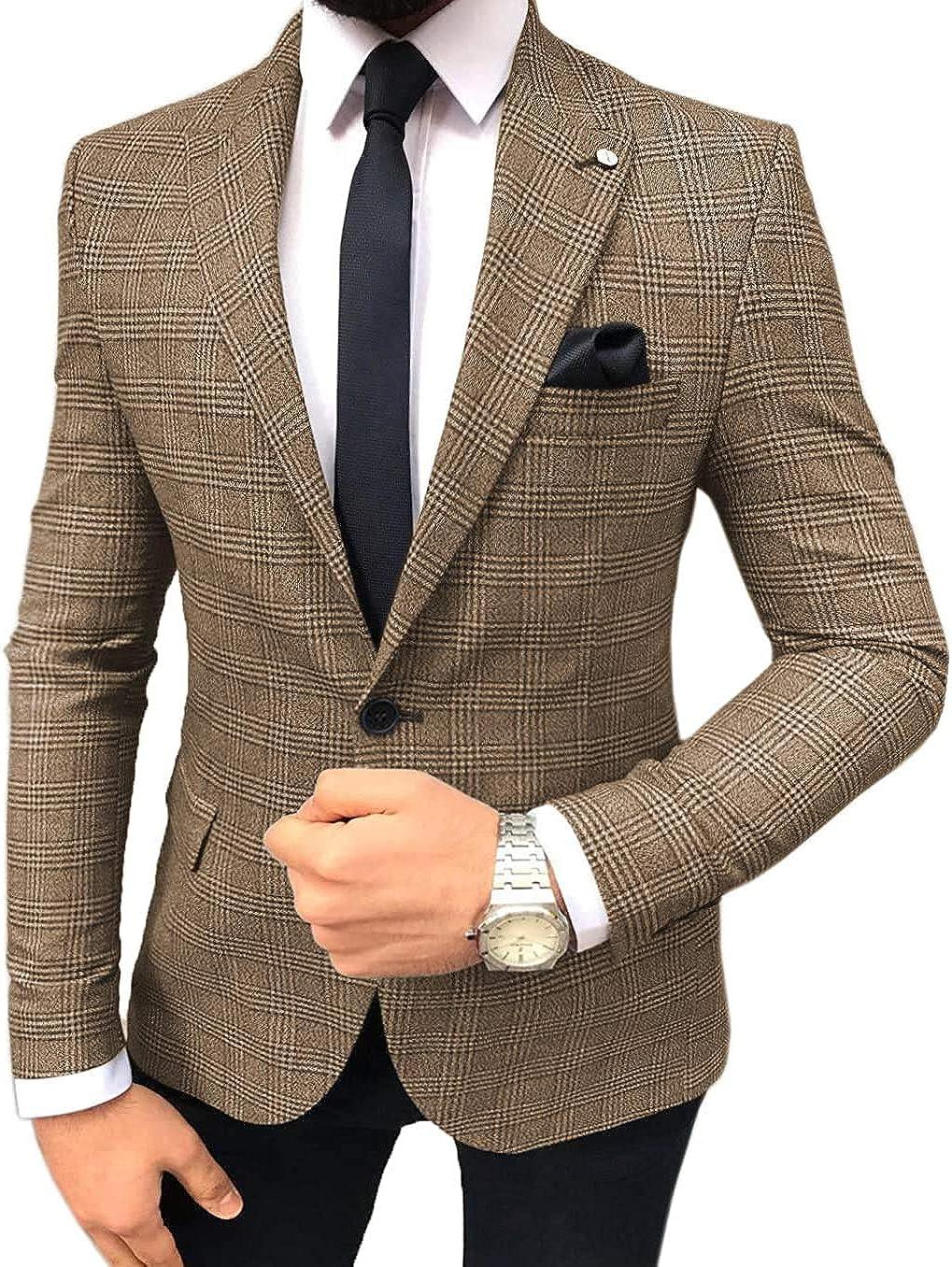 Casual Men's Suits Jacket Slim Fit Plaid Wool Prom Blazer Business Outwear Wedding Groom