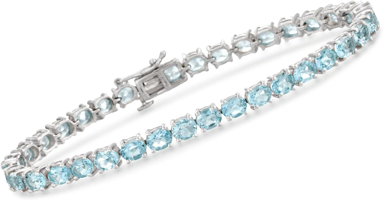 期間限定お試し価格 Ross-Simons 18.00 ct. 新色追加 t.w. Blue Sterlin in Topaz Tennis Bracelet