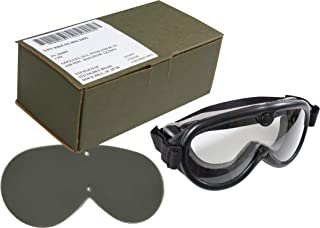 Genuine US Army GI Sun Wind & Dust SWDG Military Goggles - Black with 2 Lenses Included (USA Made)