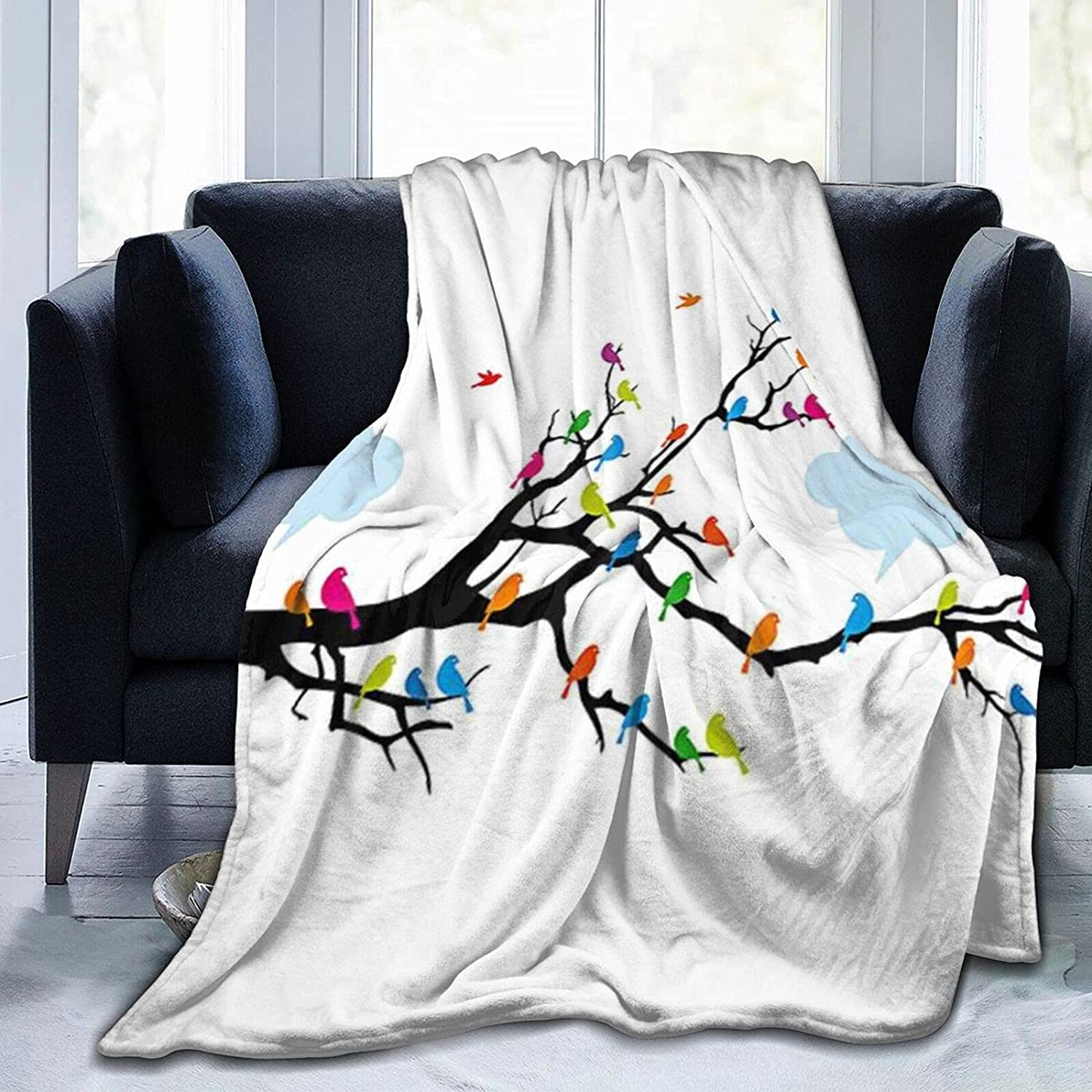 Blankets Cartoon Bird on a Max Low price 88% OFF Branch Pattern Hooded Blanket Sherpa