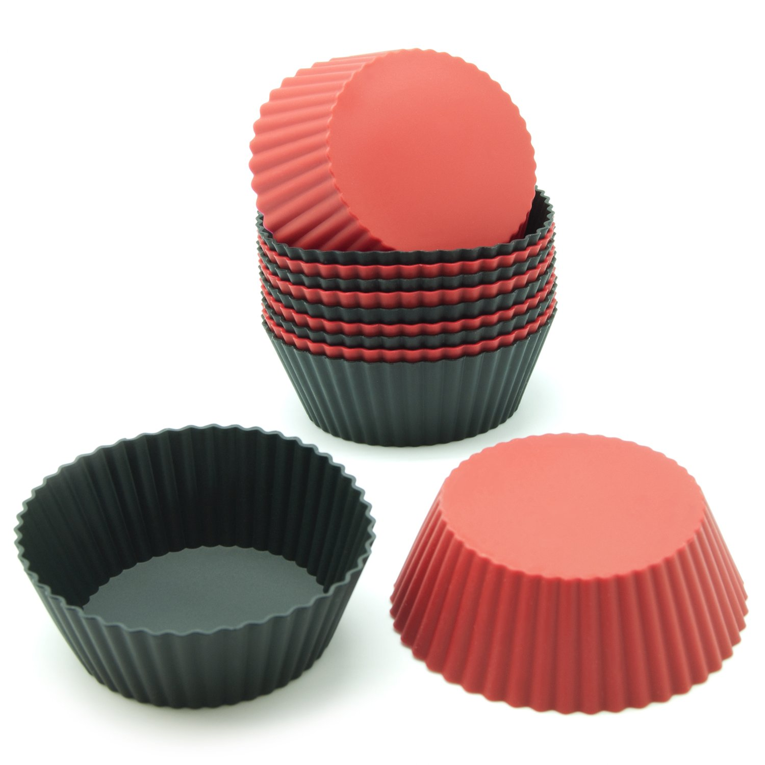 Buy Freshware Cb 304rb 12 Pack Silicone Mini Round Reusable Cupcake And Muffin Baking Cup Black And Red Colors Online At Low Prices In India Amazon In