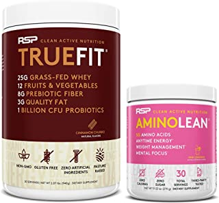 AminoLean Pre Workout Energy (Pink Lemonade 30 Servings) with TrueFit Protein Powder (Cinnamon Churro 2 LB)