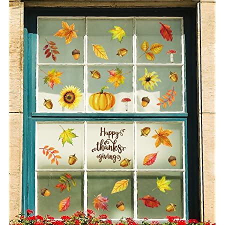 Fall Leaves Window Sticker Thanksgiving Decorations Window Clings Fall Leaves Wi