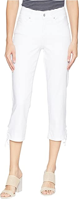 Capris w/ Lace-Up Hem in Optic White