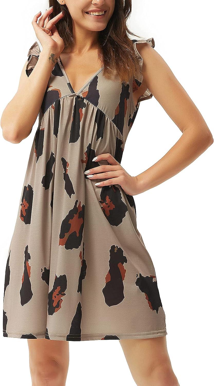 Women's Summer Nightgown Sleepwear Ruffle Sleeves Nightshirts Soft Pajamas Mini Sleep Dress