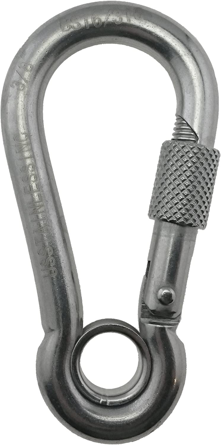 Stainless Steel 316 Spring Hook with Screw Nut and Eyelet Carabiner 3 8  (10mm) Marine Grade