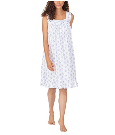 Eileen West Cotton Jersey Knit Sleeveless Short Nightgown (White Ground Blue/Pink Floral) Women