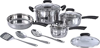 SPT HK-1111 11pc Stainless Steel Cookware set, 11 Piece, Silver