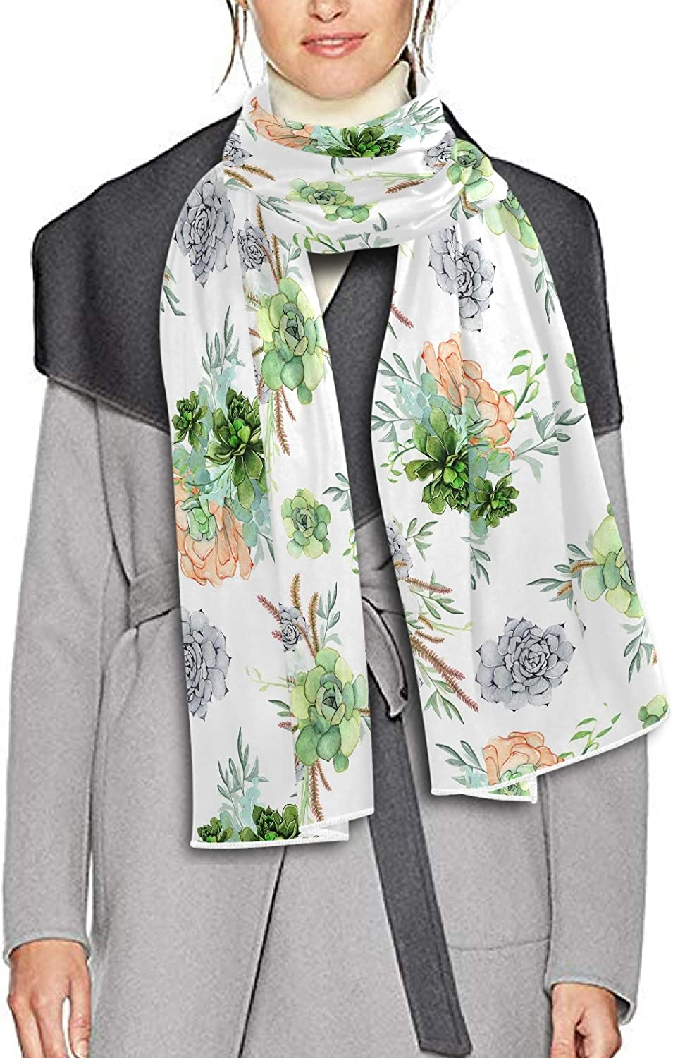 Scarf for Women and Men Succulent Plants Printed Shawl Wraps Blanket Scarf Thick Soft Winter Large Scarves Lightweight
