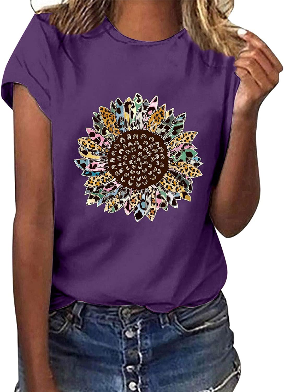 FABIURT Tshirts for Womens Leopard Printed Heart-Shaped Tops Summer Casual Blouse Short Sleeve T Shirts Athletic Tees