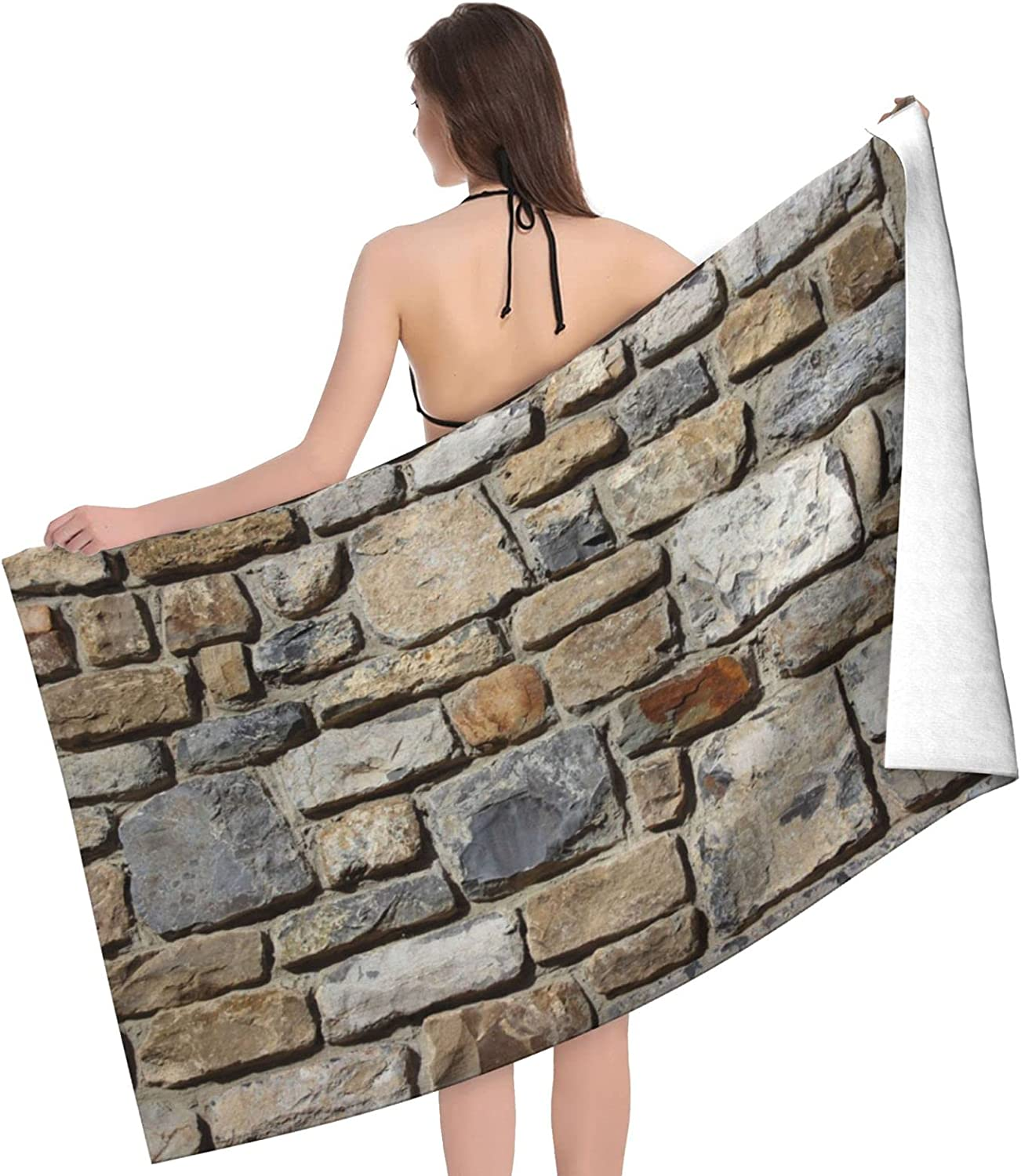 Retro Max 62% mart OFF Stone Print Adult Beach Towels Towel Sided Double -