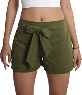 Tropic Bliss Organic Cotton Tie Shorts for Women, Hand Dyed, Comfy Boho Style