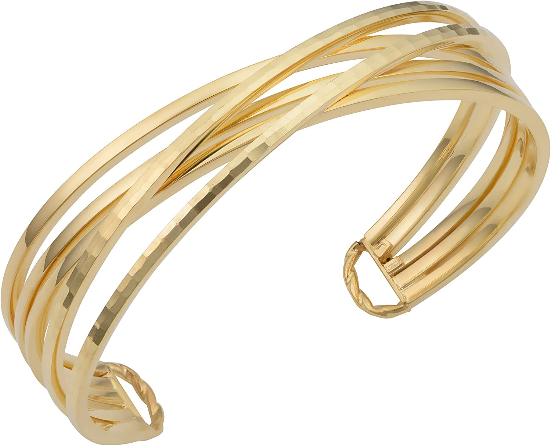 KoolJewelry 14k Yellow Gold Diamond-cut Crisscross Cuff Bangle Bracelet (15 mm, 7.5 inch)