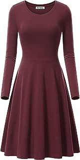 Women's Long Sleeve Scoop Neck Casual Flared Midi Swing Dress