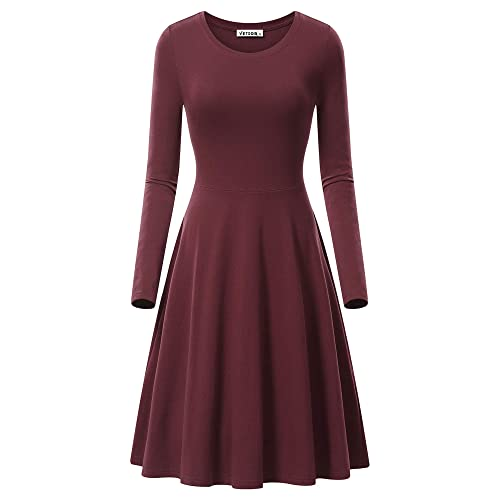 0db969a11312 VETIOR Women s Long Sleeve Scoop Neck Casual Flared Midi Swing Dress