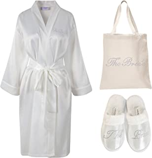 (Ivory) - Varsany Ivory Rhinestone The Bride Satin Bathrobe + Spa Slipper + Tote Bag wedding Personalised day hen party gift set