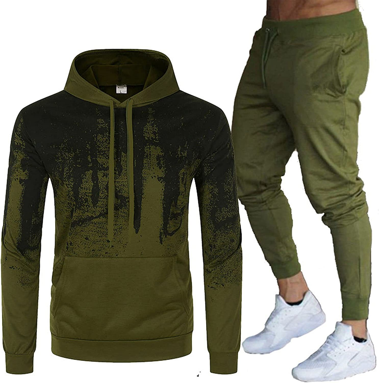 FORUU Mens Tracksuit Set 2021 Fall Winter 2 Piece Sets Hoodies and Sweatpant Set Casual Jogger Suit Fashion Sweat Suit