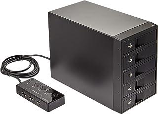 """センチュリー USB3.0接続 3.5""""SATAx5台 搭載可能HDDケース 電源リモートボックス+USB充電3ポート付 「裸族のカプセルホテル5Bay」 CRCH535U3ISC"""