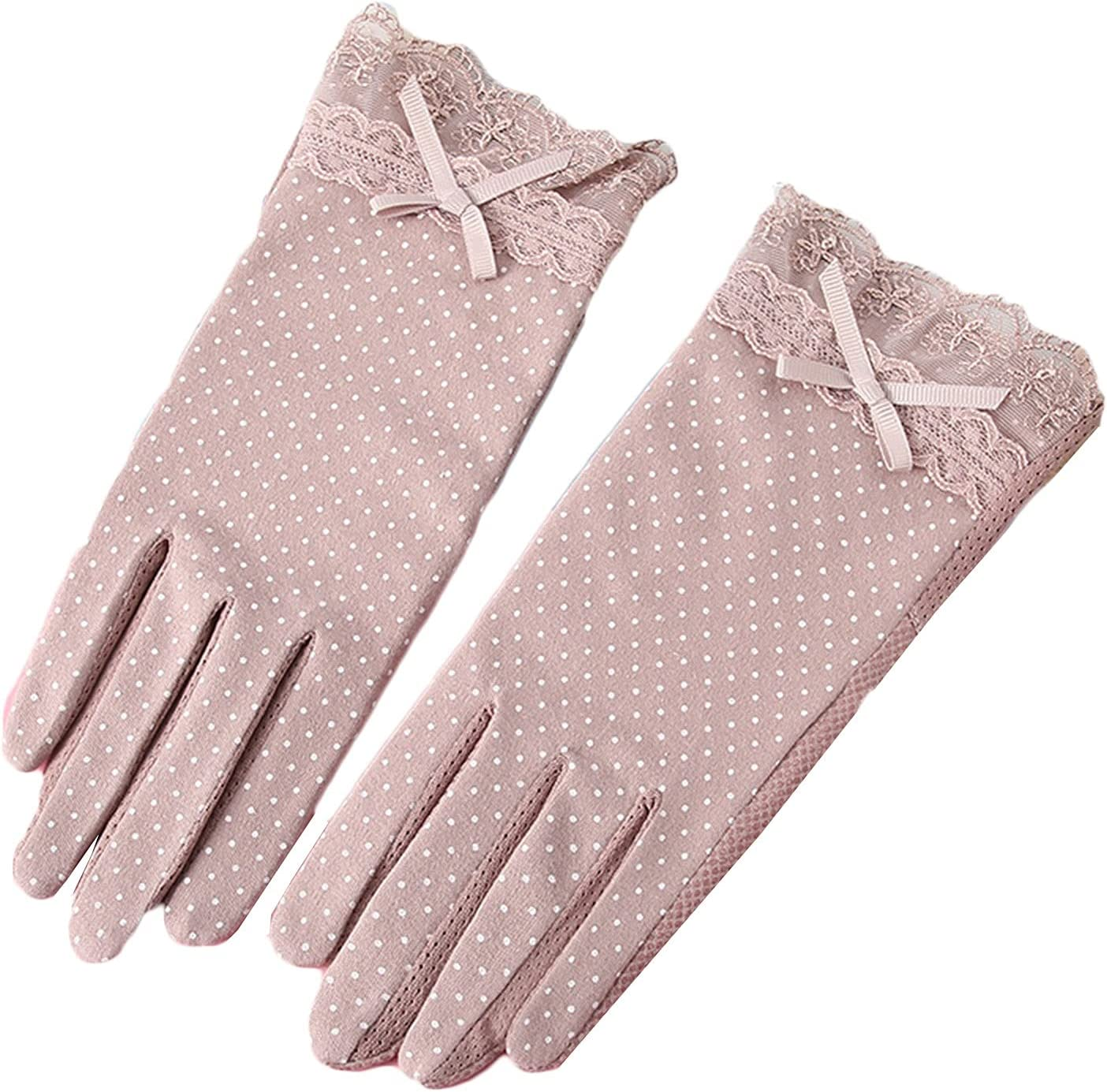 FAYDOO Thin Gloves Sunscreen Gloves Ladies Touch Screen Thin Summer Spring and Autumn Warm Gloves (Color : Pink)