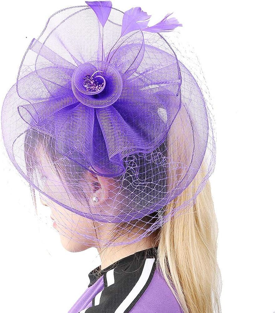 Hinzonek Women Flower Top Hat Mesh Ribbons Feathers On a Headband & Crocodile Clips Wedding Party Headdress(Black)