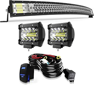 LED Light Bar TERRAIN VISION 50 Inch Curved Led Bar Off Road Light W/ 2pcs 4in 60W LED Driving Fog Lights W/Rocker Switch Wiring Harness Kit for Jeep Trucks Polaris Boat Lighting Combo Light Bars