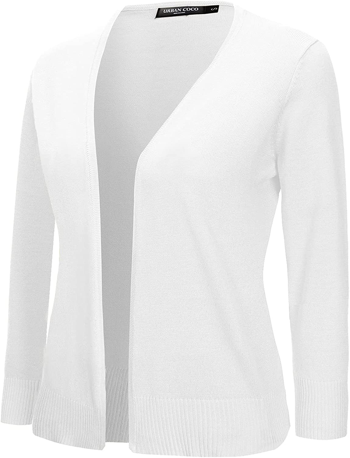Urban CoCo Women's 3/4 Sleeve Open Front Cropped Sweater Cardigan