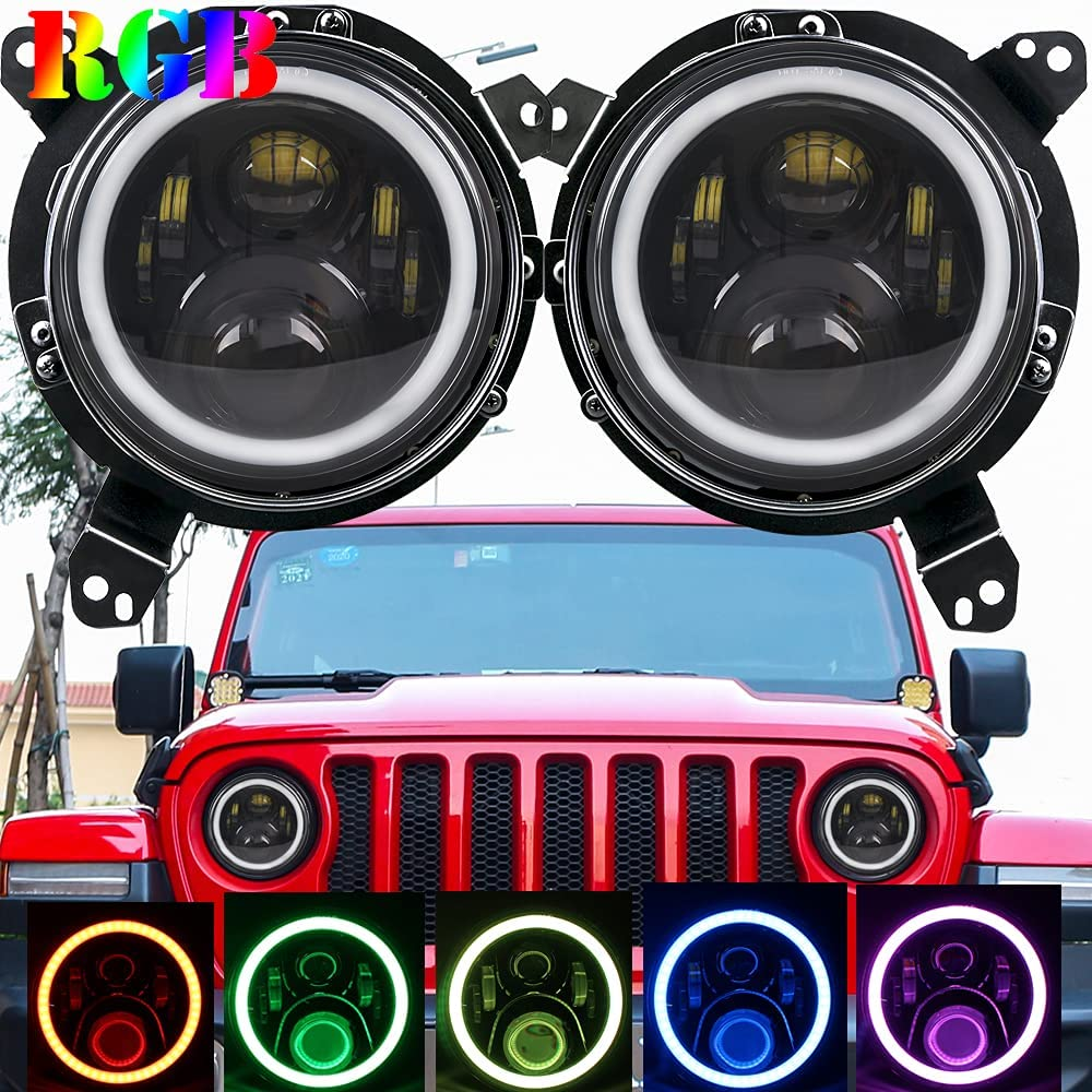 HOZAN JL Over item handling ☆ Headlights LED Round Omni-d inch 9 with Limited time cheap sale RGB