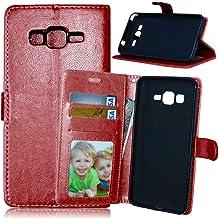 JEEXIA® Funda para Samsung Galaxy Grand Prime (G530 / G5308) Moda Business Flip Wallet Case Cover PU Cuero con Soporte Cubierta Protectora - Marrón